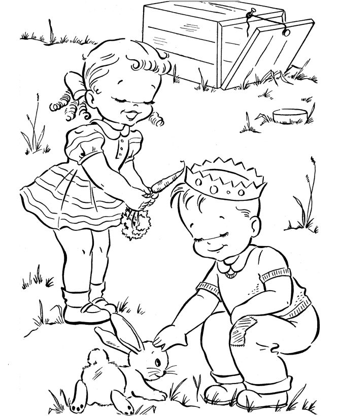 Spring Coloring Pages Bunny 001
