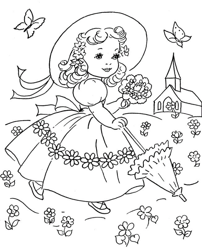 Spring Coloring Pages Girls