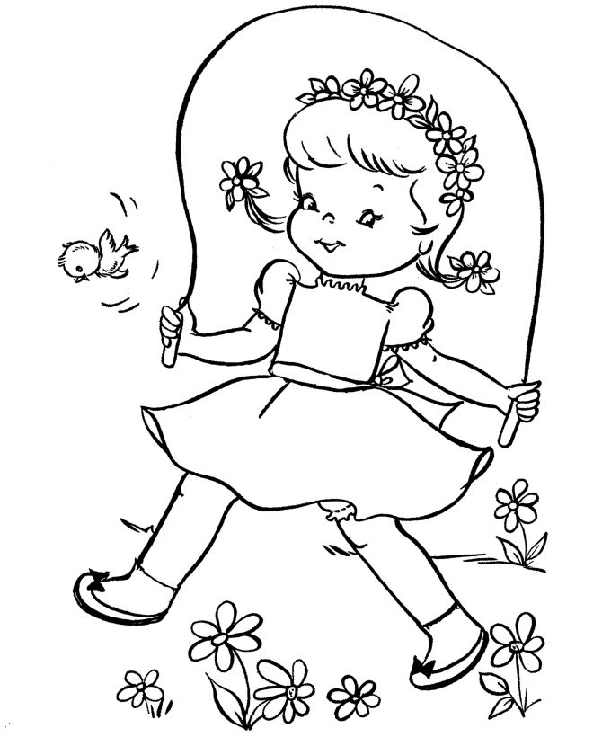 Spring Coloring Pages Jump Rope 001