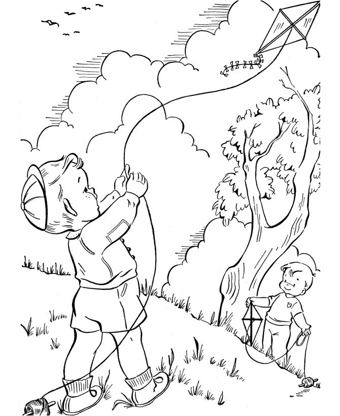 Spring Coloring Pages Kites 001