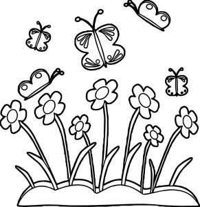Spring flower border spring flowers and butterflies coloring page