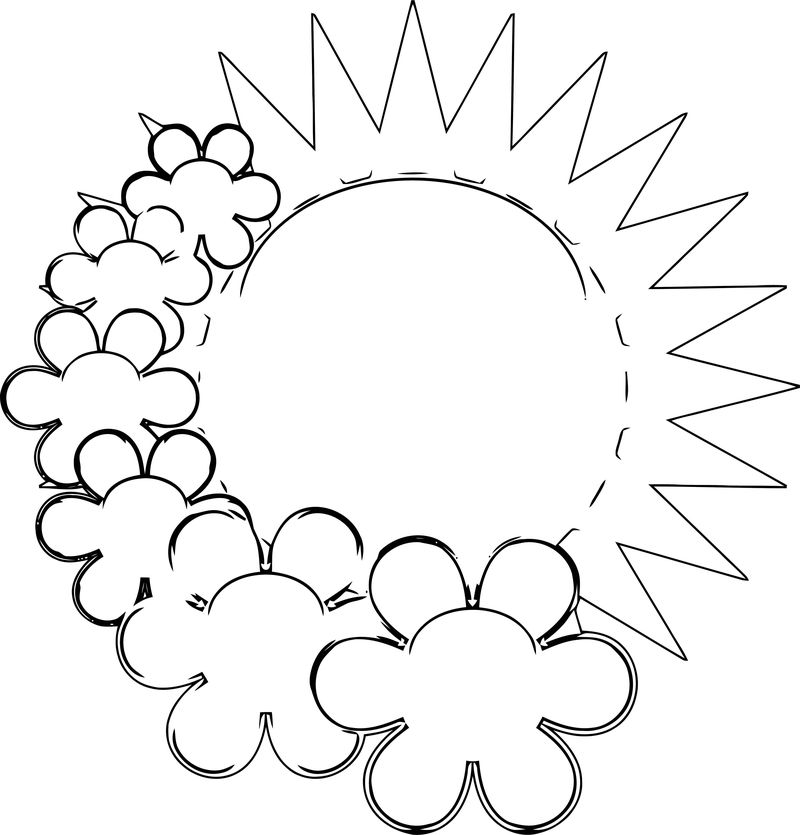 Spring Flower Spring Sun With Flowers Coloring Page