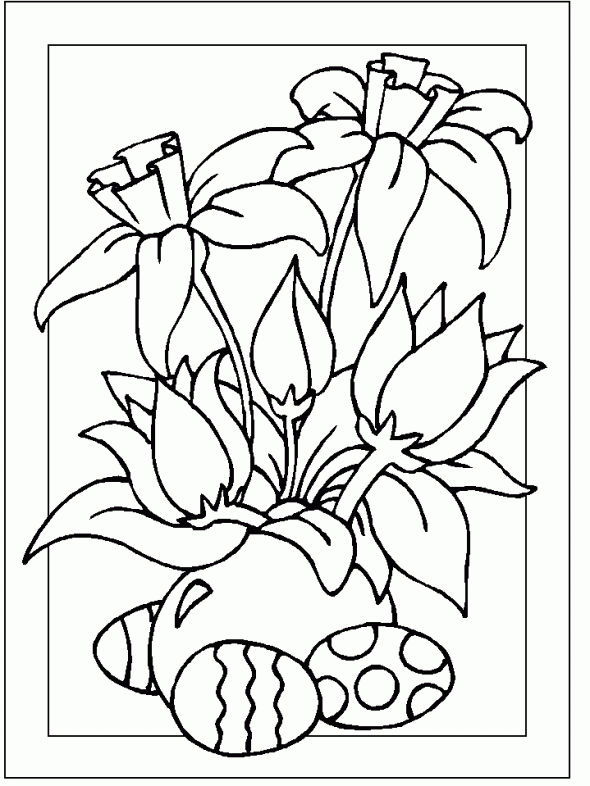 Spring Flowers Religious Easter Coloring Pages