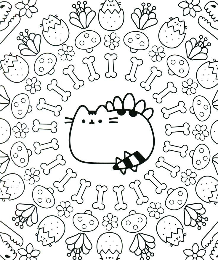 Spring Pusheen Coloring Pages