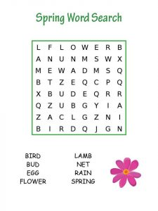 Spring word search printables
