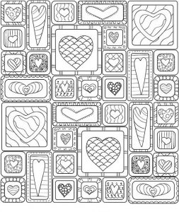 Square design valentines day coloring pages for adults