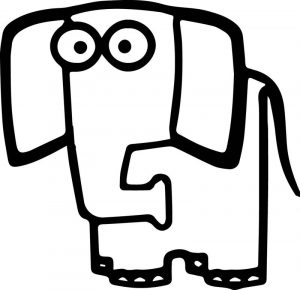 Square elephant cartoon coloring page