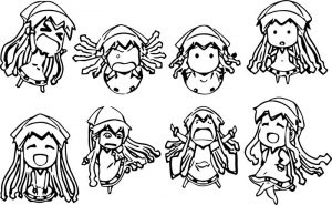 Squid girl chibi characters style coloring page