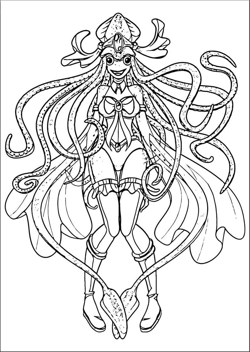 Squid Girl Creature Coloring Page 257