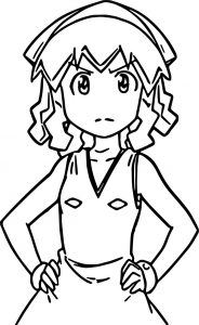 Squid girl front view free coloring page