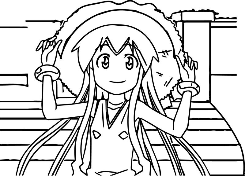 Squid Girl Ika Musume Cartoon Coloring Page