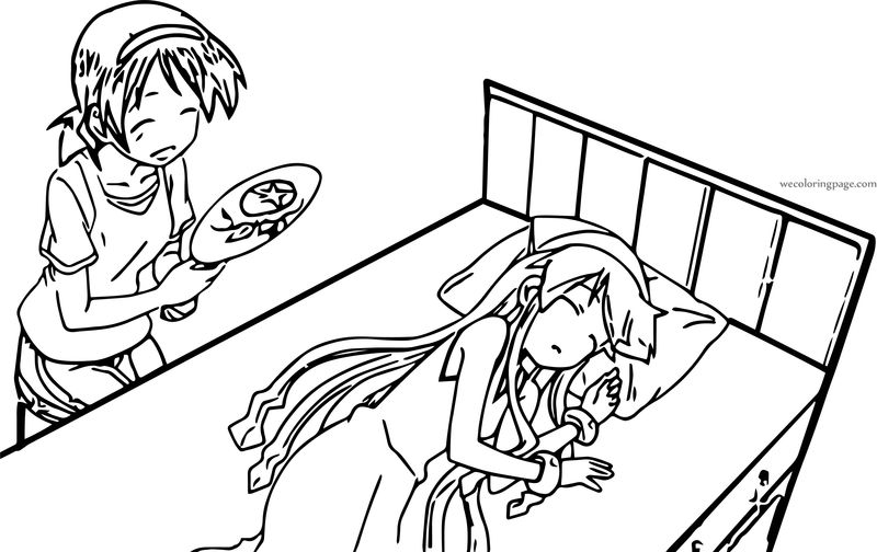 Squid Girl Sleeping At Bed Coloring Page