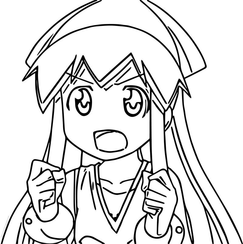 Squid Girl Squiddy Coloring Page