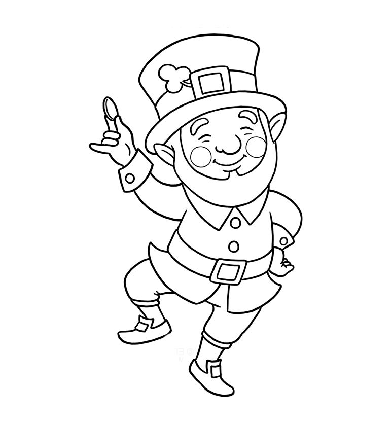 St Patricks Day Coloring Page Leprechaun
