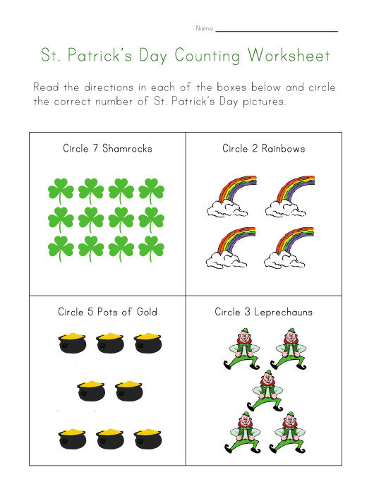 St Patricks Day Counting Worksheets