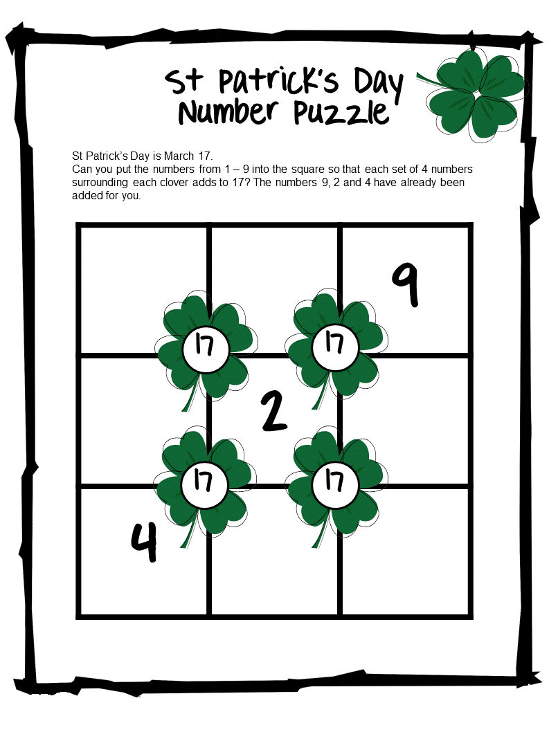 St Patricks Day Number Puzzle
