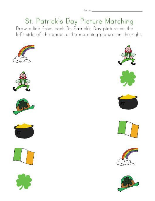 St Patricks Day Picture Matching Worksheet