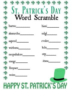 St patricks day word scramble puzzle