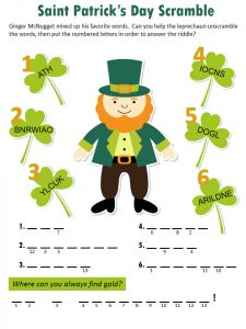 St patricks day word scramble 1