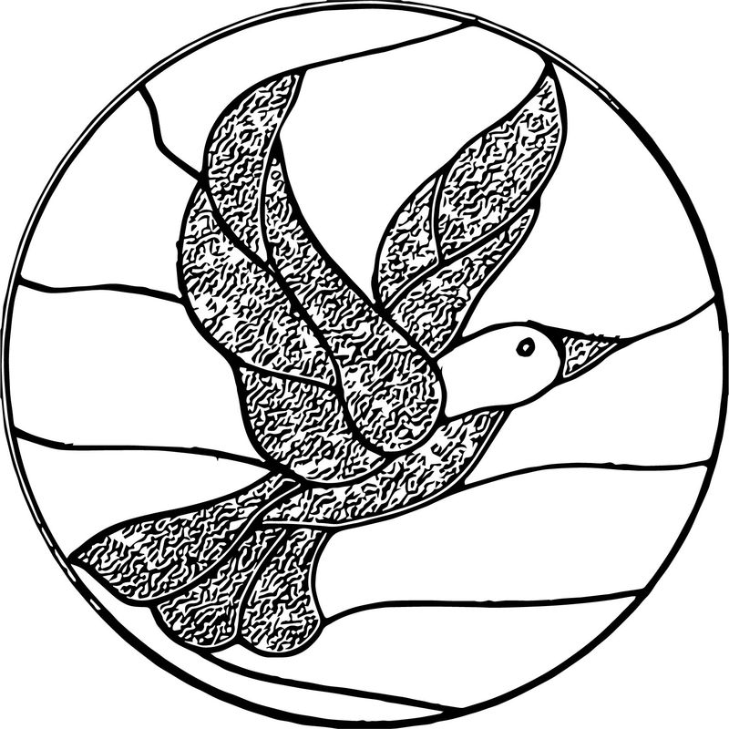 Stained Glass Bird Coloring Page