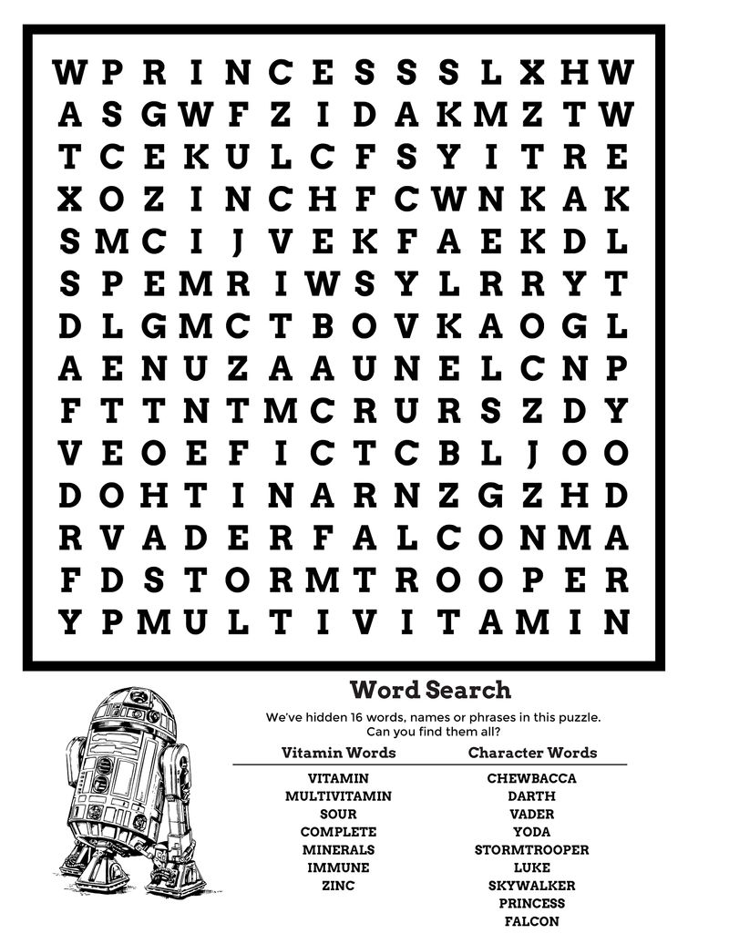 Star Wars Word Search Free 1