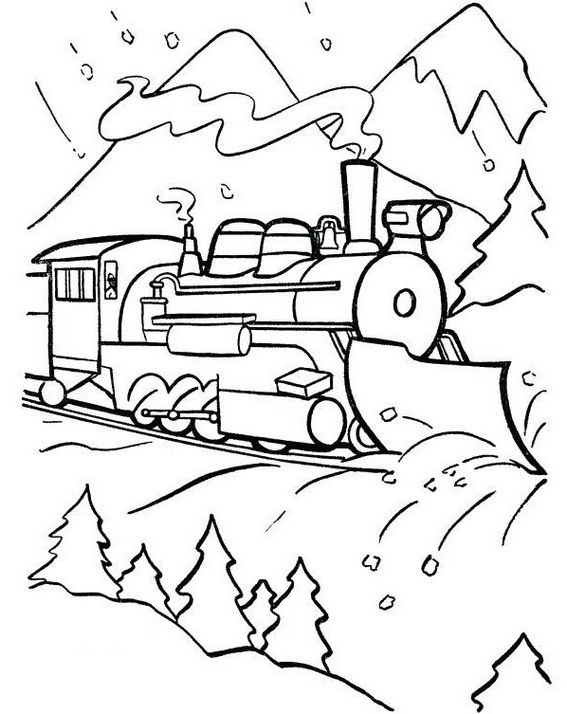 Steam Train Coloring Sheet With Beautiful Natural Scenery