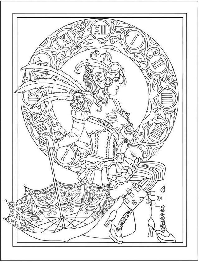 Steampunk Aesthetic Designs Adult Coloring Pages