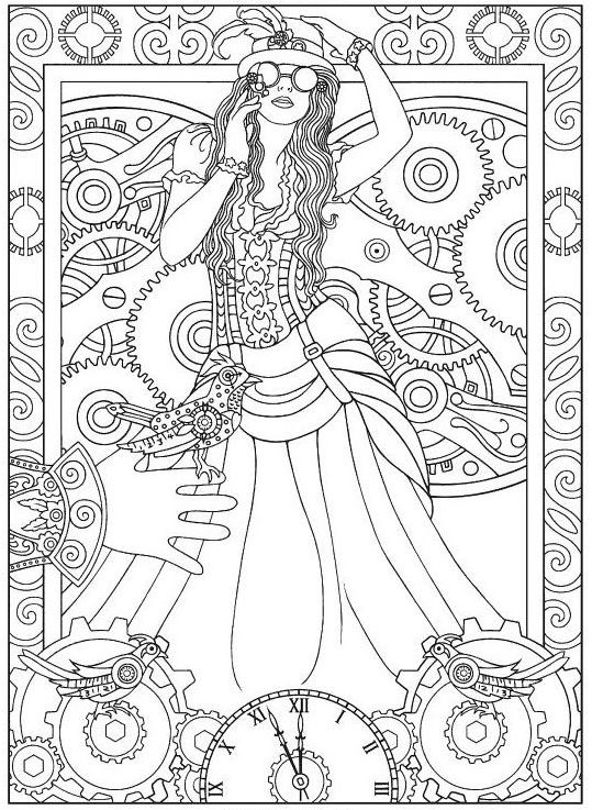 Steampunk Science Fiction Adult Coloring Pages
