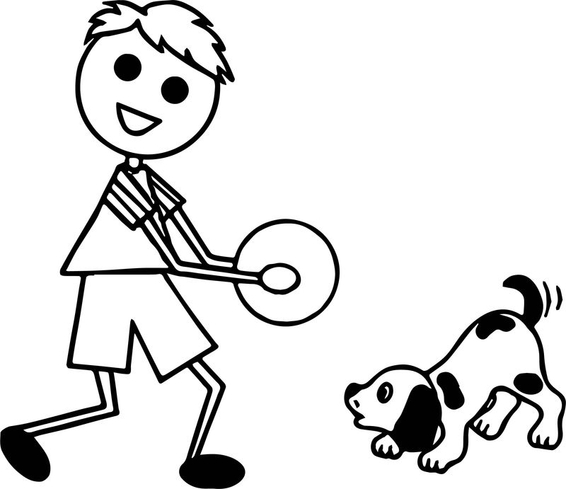 Stick Figure Boy Playing With Dog Coloring Page