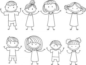 Stick figure kids children free download coloring page