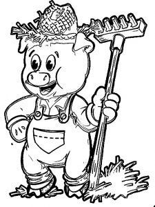 Straw pig coloring page