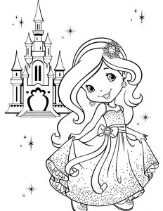 Strawberry shortcake princess coloring page