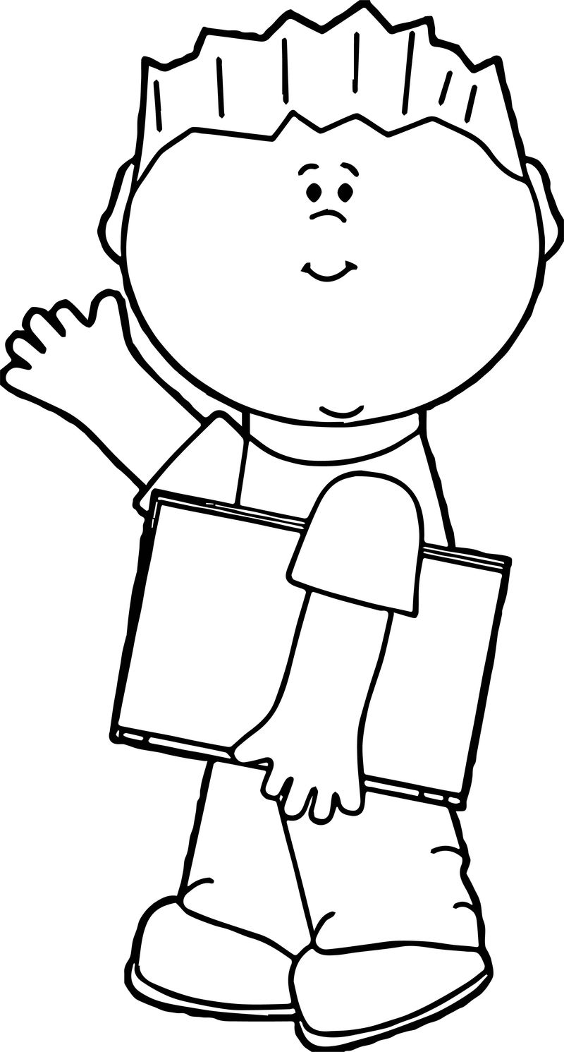 Student Boy Book Coloring Page