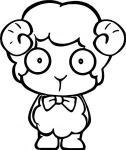 Student kid sheep coloring page