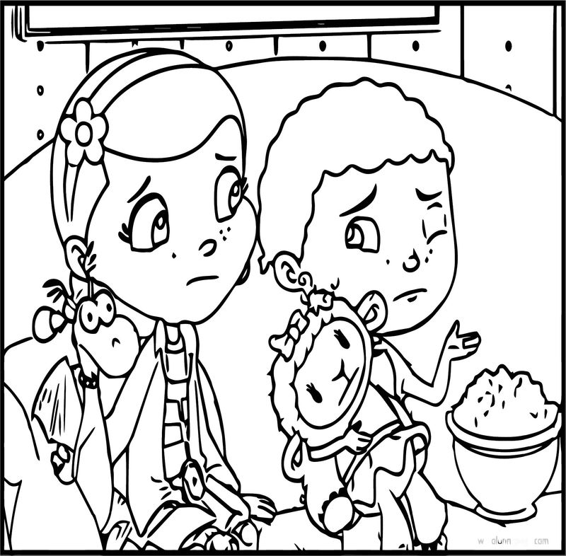 Stuffy Doc Donny Lambie Cartoon Coloring Page