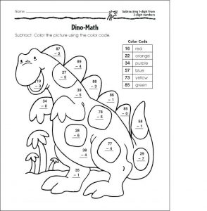Subtraction coloring worksheets free