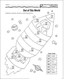 Subtraction with borrowing coloring worksheets
