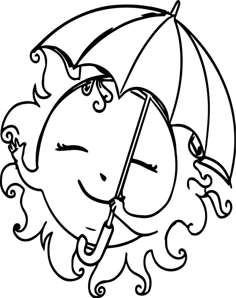 Summer Free Sun Girl Images Coloring Page