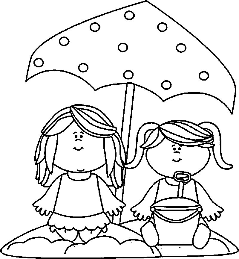 Summer Girls Coloring Page