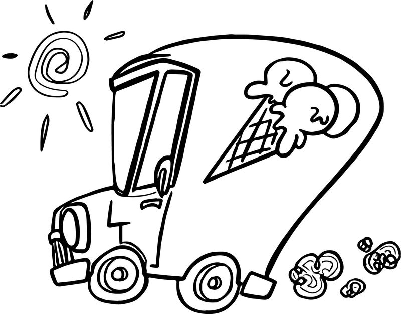 Summer Ice Cream Car Coloring Page