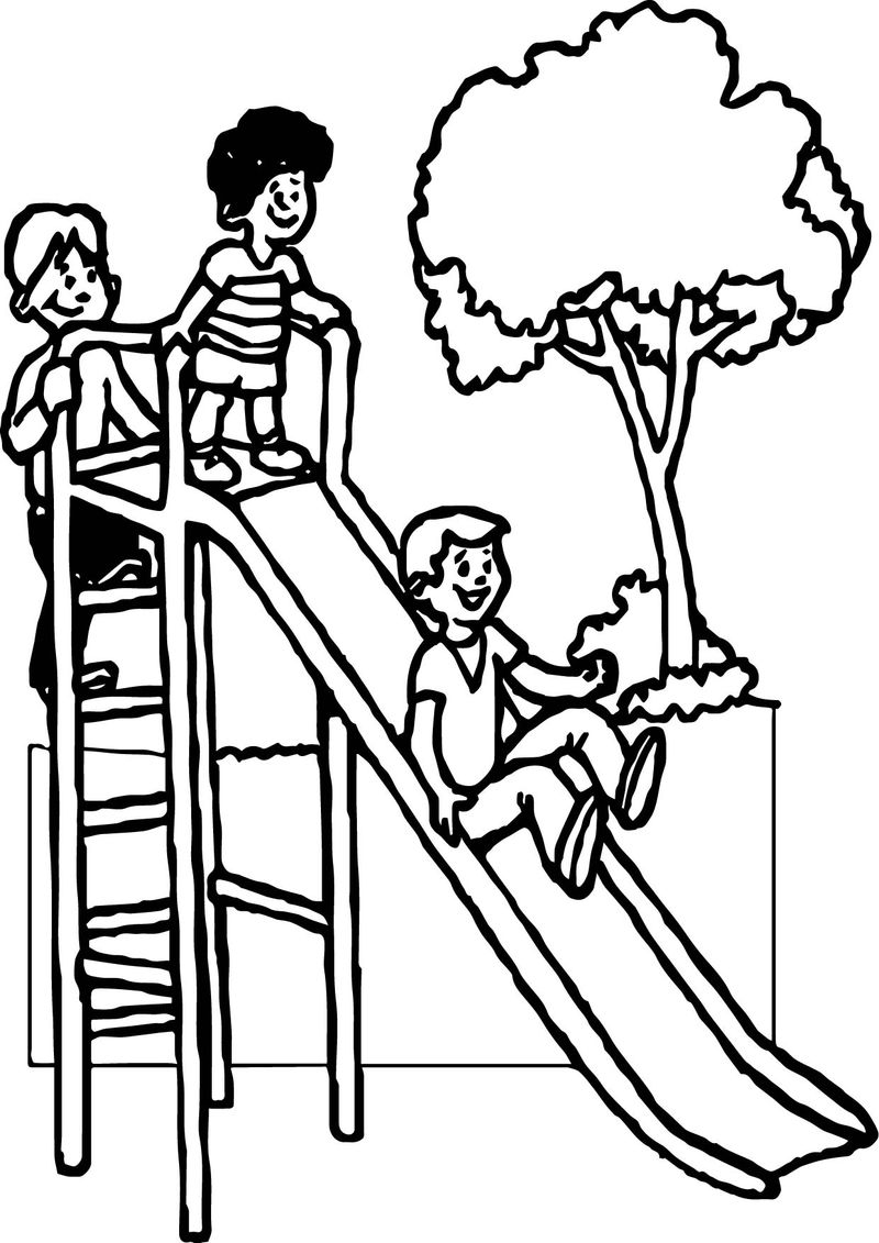 Summer Slide Kids Coloring Page