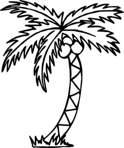 Summer tree beach coloring page