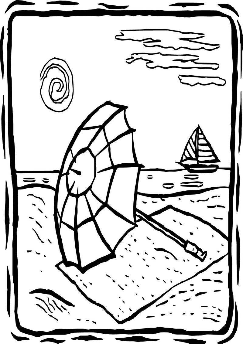 Summer View Coloring Page