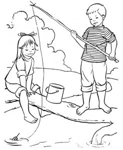 Summertime fishing coloring pages 001