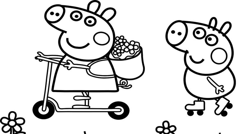 Summertime Peppa Pig Coloring Pages