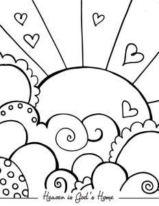 Sun hearts and heaven cute coloring pages for adults