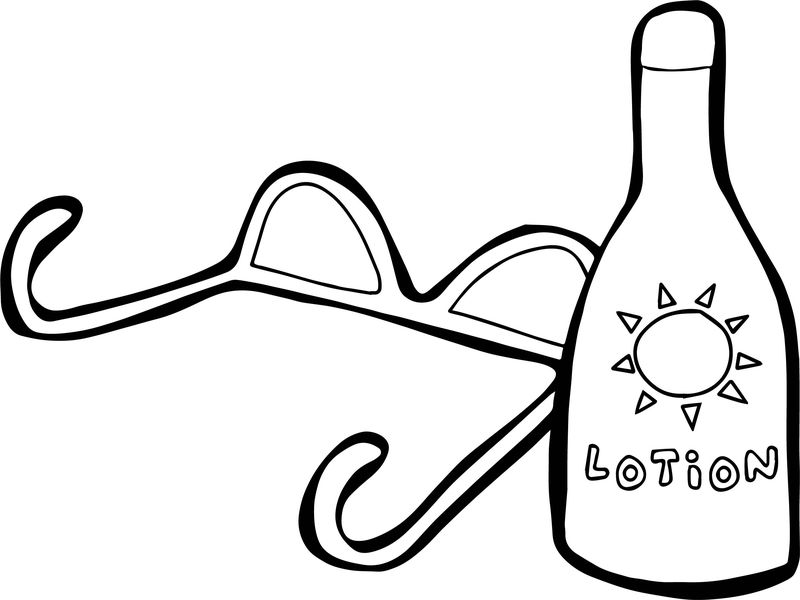 Sun With Sunglasses And Lotion Summer Coloring Page