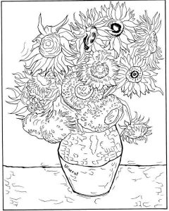 Sunflowers van gogh coloring pages