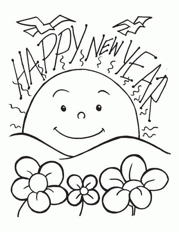 Sunrise Happy New Year Coloring Pages