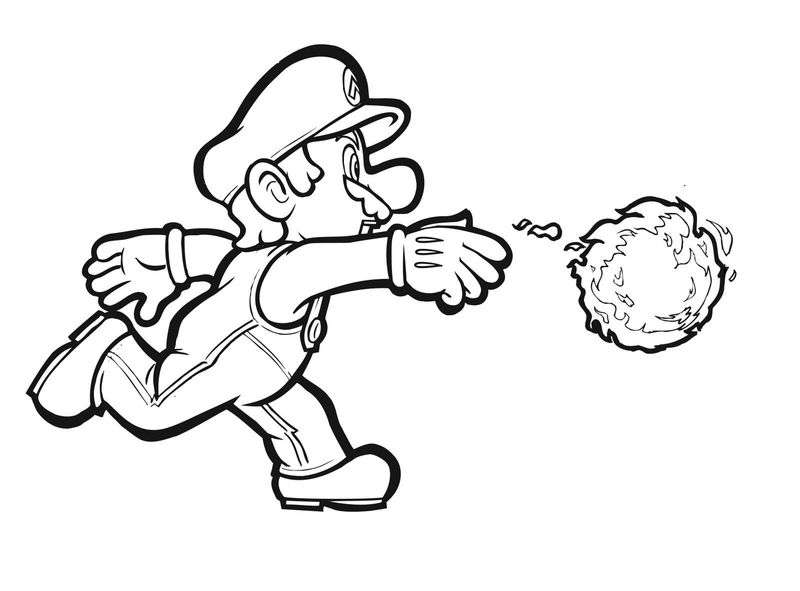 Super Mario Coloring Pages Fireball 001